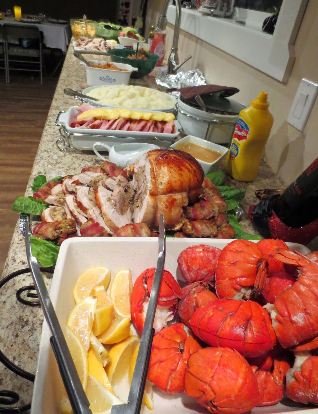 There was so much delicious food. We had lobster tails with garlic ...