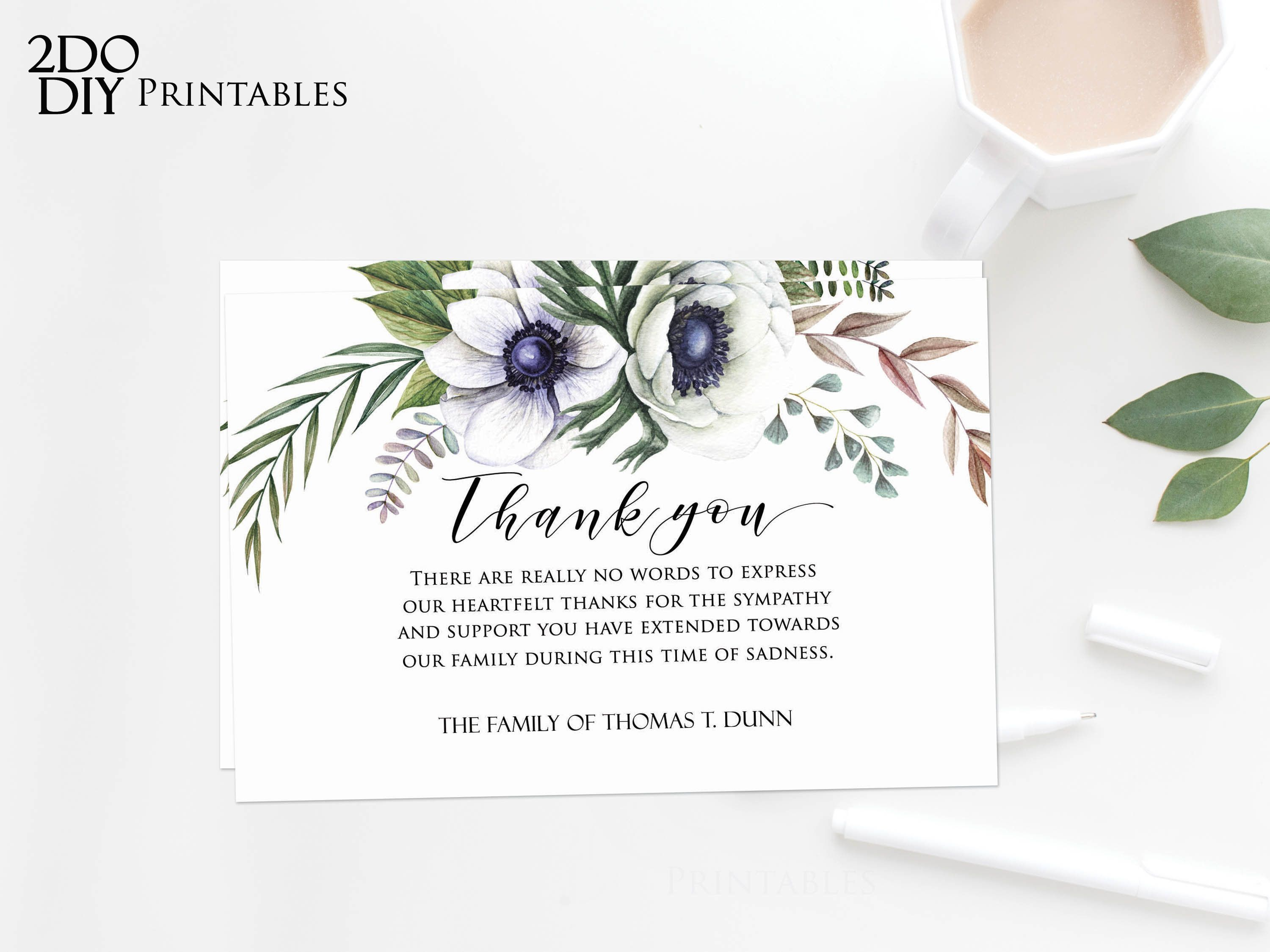 Editable Funeral Thank You Card Funeral Thank You Cards