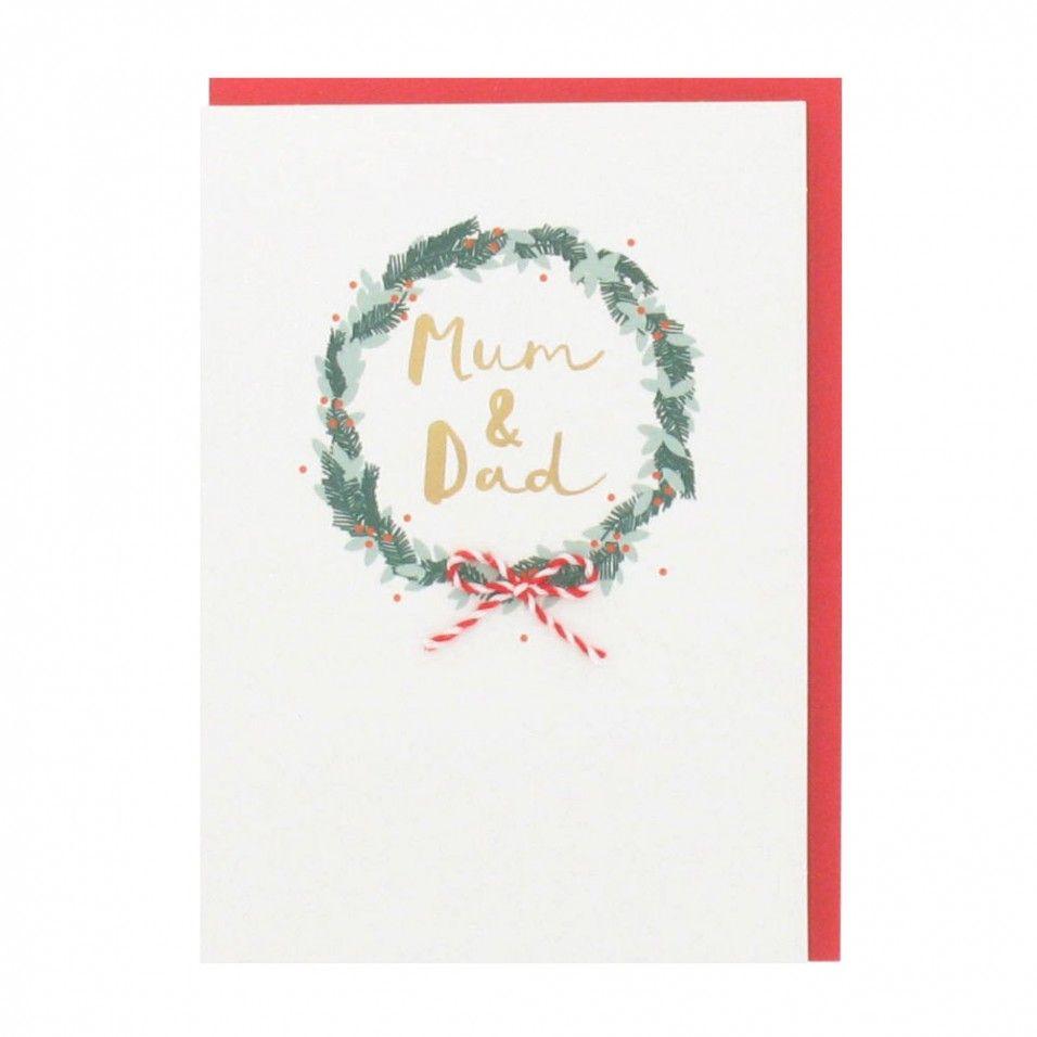 Wreath mum and dad Christmas card - All Christmas Cards - Christmas ...