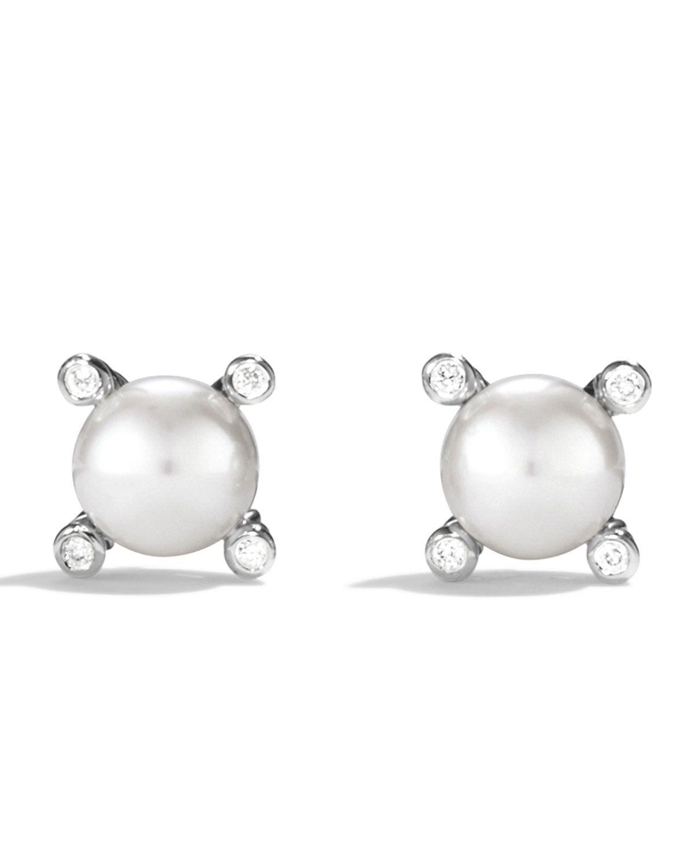 7fa63ef210ab David Yurman Small Pearl Earrings with Diamonds