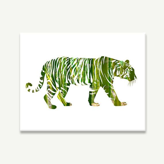 "Jungle Tiger Canvas / gallery wrap / bamboo silhouette green wild cat modern minimal animal nature art / 8x10 11x14 16x20 / ""On the Prowl"" on Etsy, $55.00"