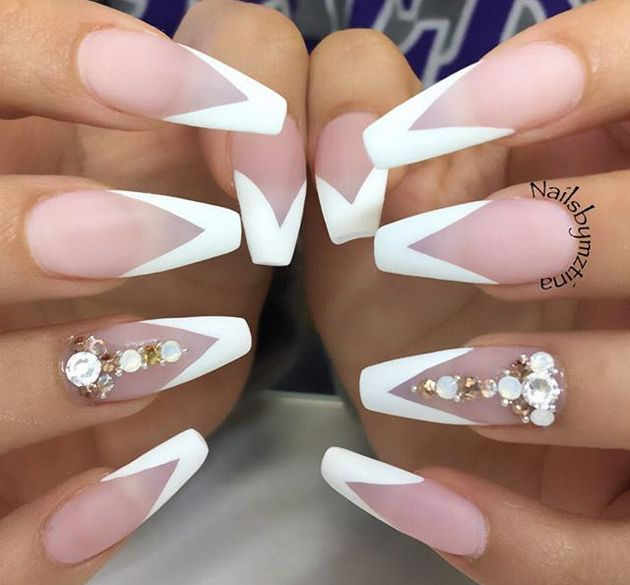 negative space french tips nail