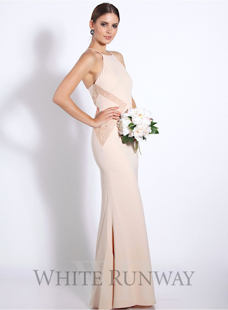 Isabella dress dreamwedding whiterunway ethereal elegance length dress by australia designer love honor a high neckline style featuring lace applique on the waistline available in peach navy dusty pink ombrellifo Gallery