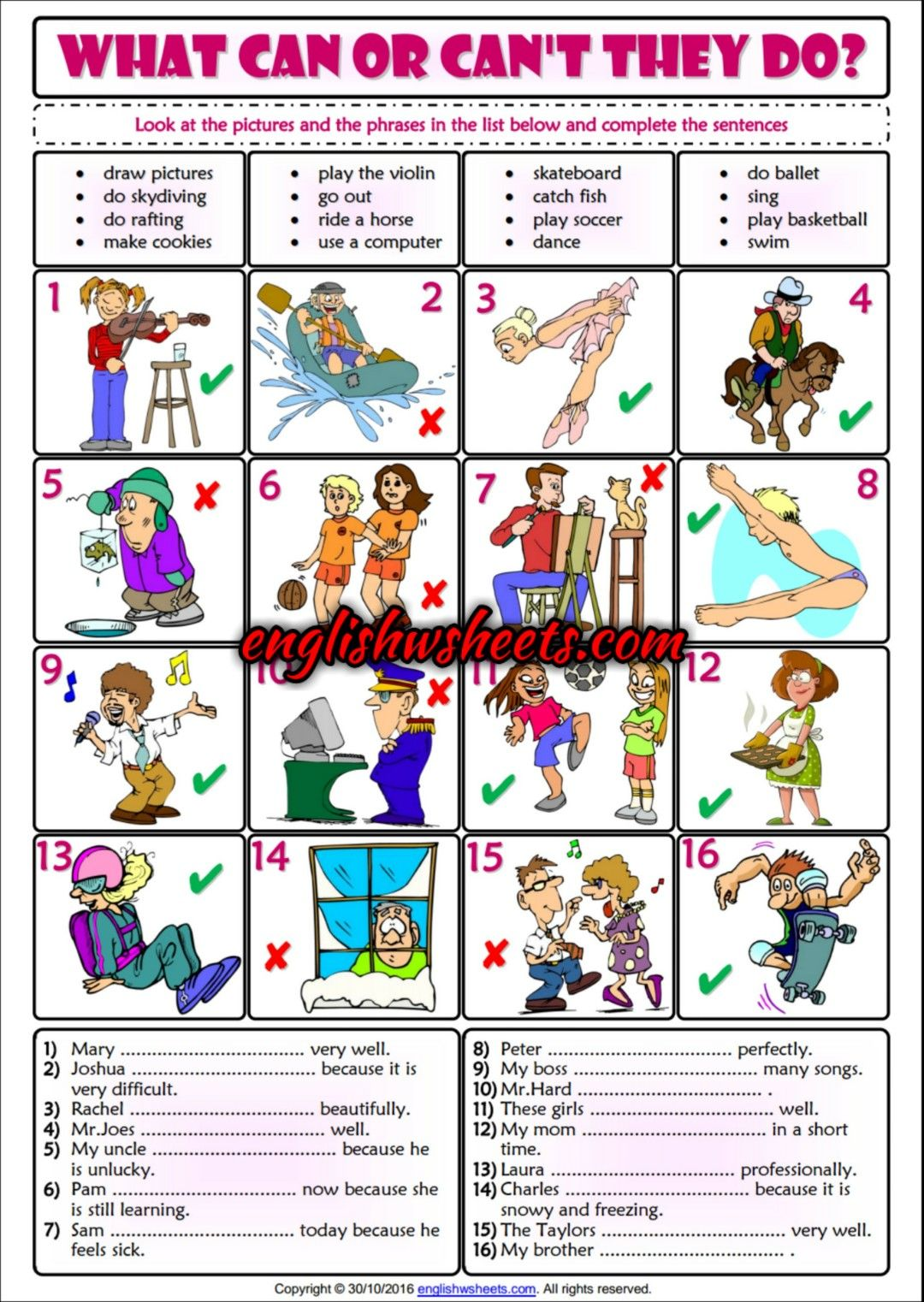 Can Or Can T Sentence Building Esl Printable Grammar Quiz
