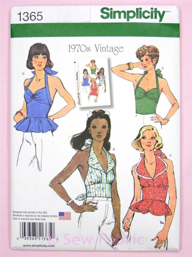Simplicity 1365 Sewing Pattern Misses\' Halter Neck Tops - 1970\'s ...