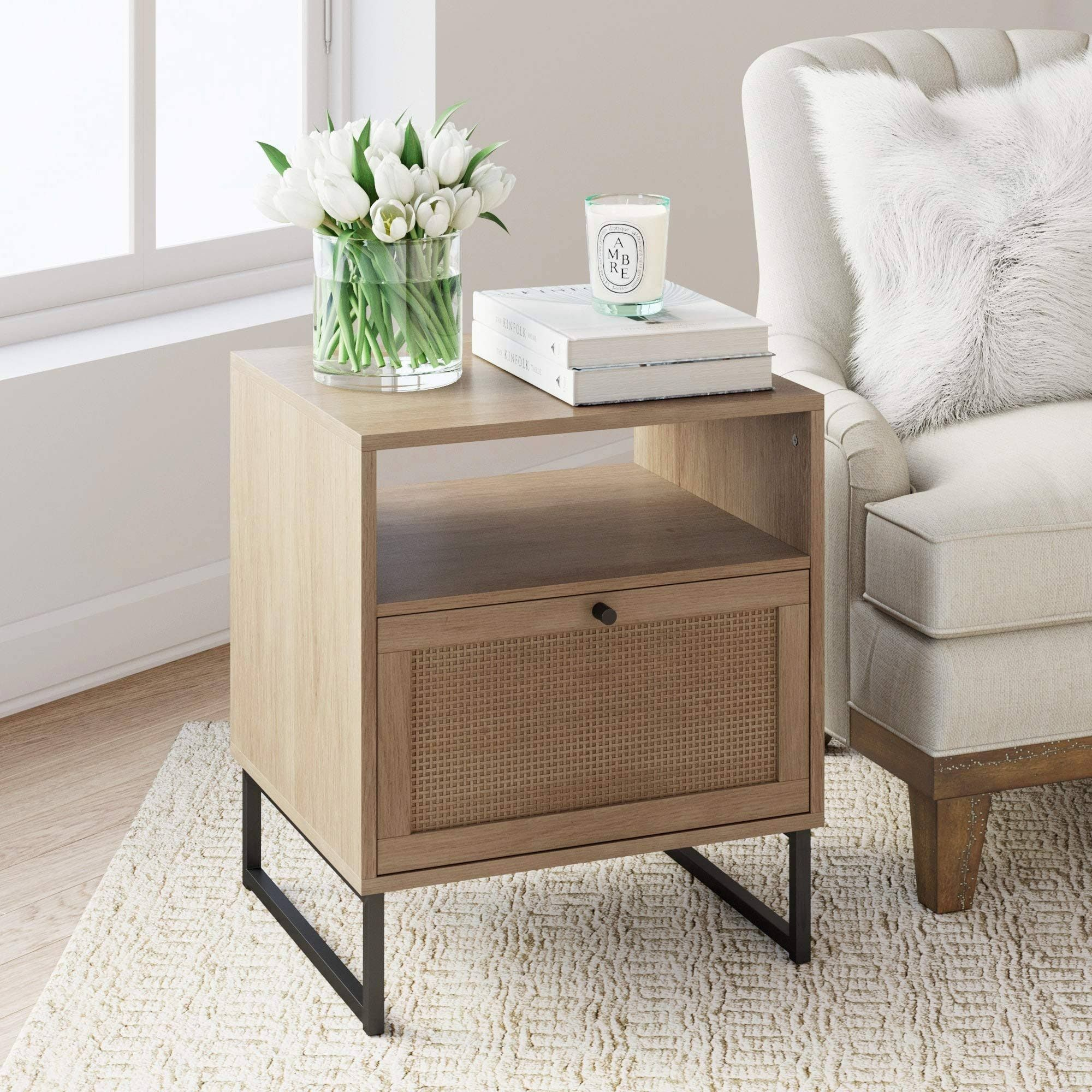 Vanitt Site Nathan James Mina Side End Table Wood Finish Matte Accents With Storage For Livi In 2020 Bedroom Night Stands Living Room End Tables Living Room Storage #side #table #with #storage #for #living #room
