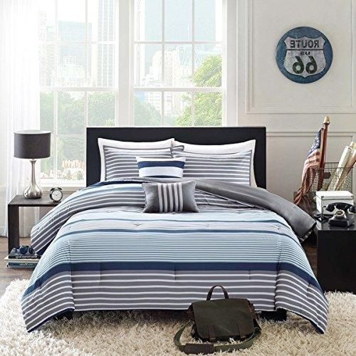 Boys Navy Blue White Grey Stripes Comforter Twin Twin Xl Set Horizontal Gray Striped Bedding Rugby Stripe Sport Striped Bedding Nautical Pattern Blue And White