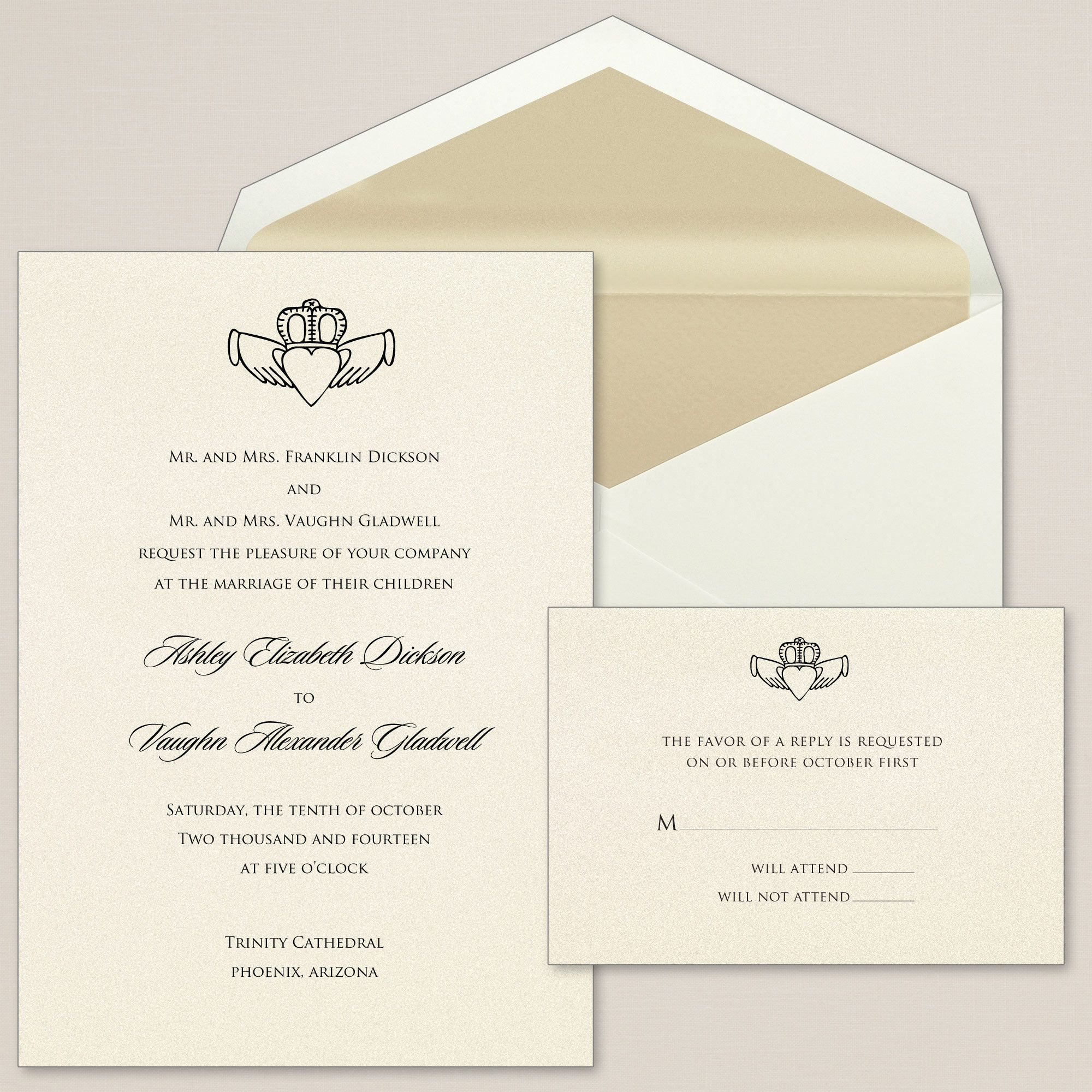 Exclusively Weddings Claddagh Heart Wedding Invitations is a Irish ...