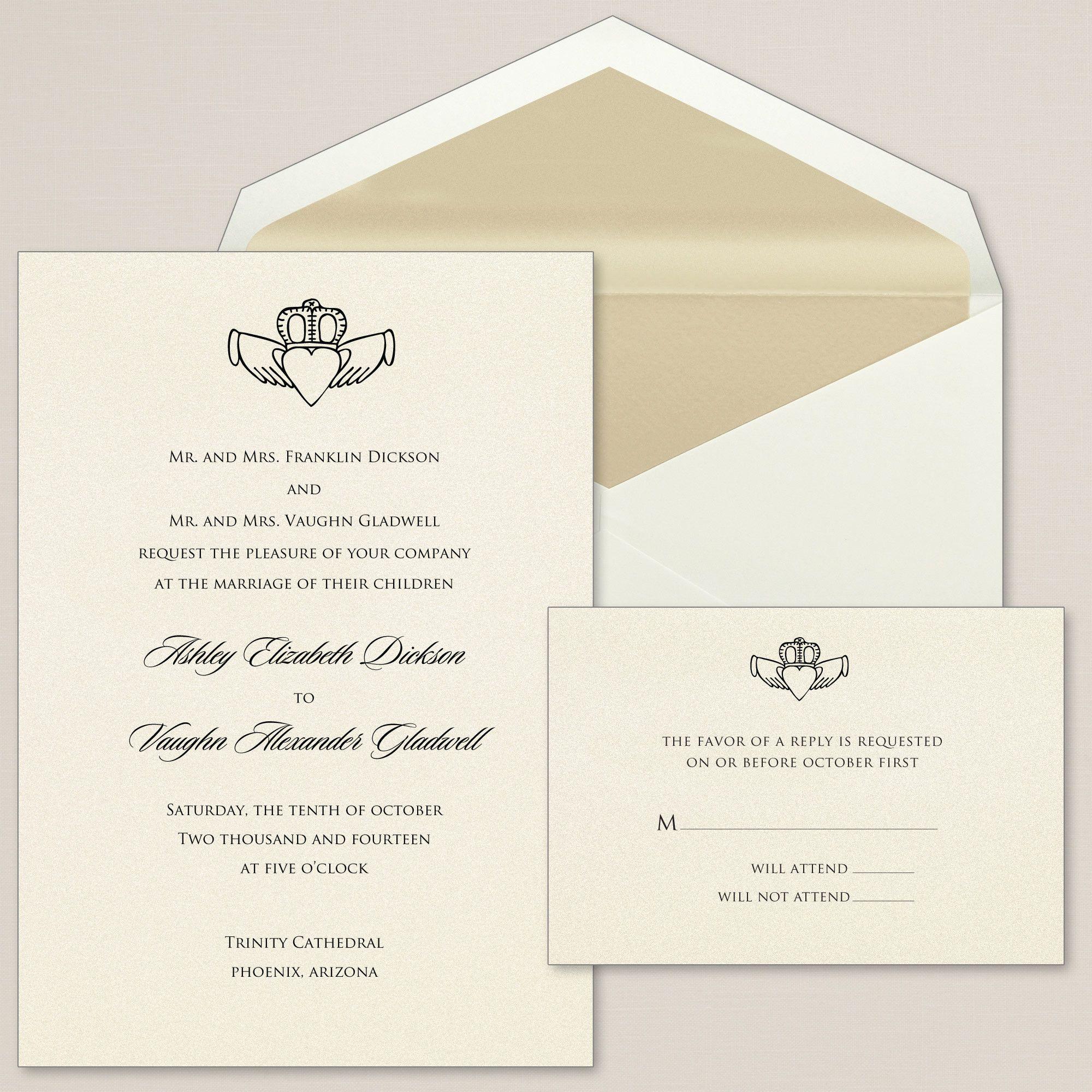 Claddagh Heart Wedding Invitations