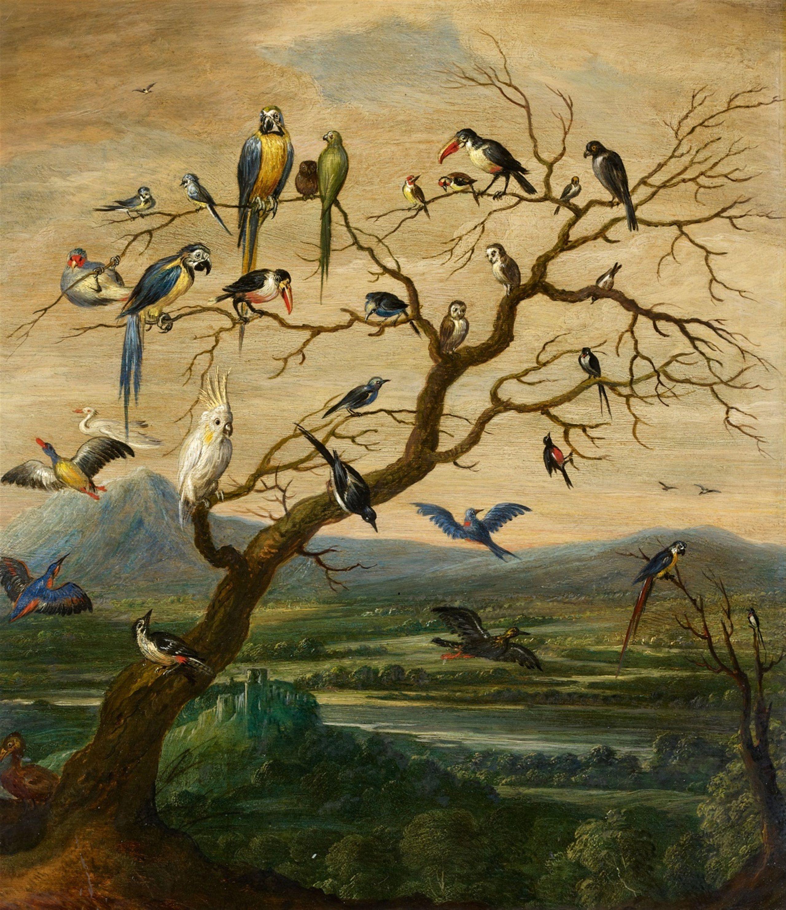 Flemish School, 17th century, Birds in a Tree before a Landscape, Oil on panel (parquetted). 41 x 36.5 cm.   Bird art, Tree illustration, Animal art