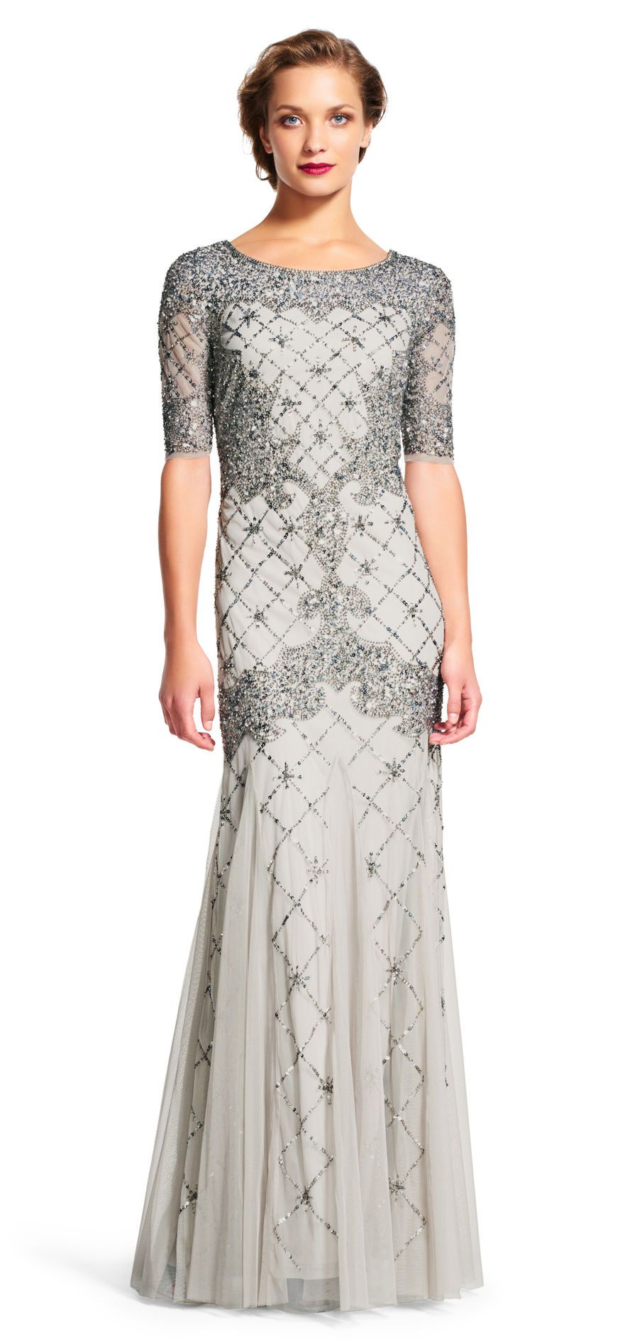 Adrianna Papell   Fully Beaded Godet Gown with Sheer Sleeves ...