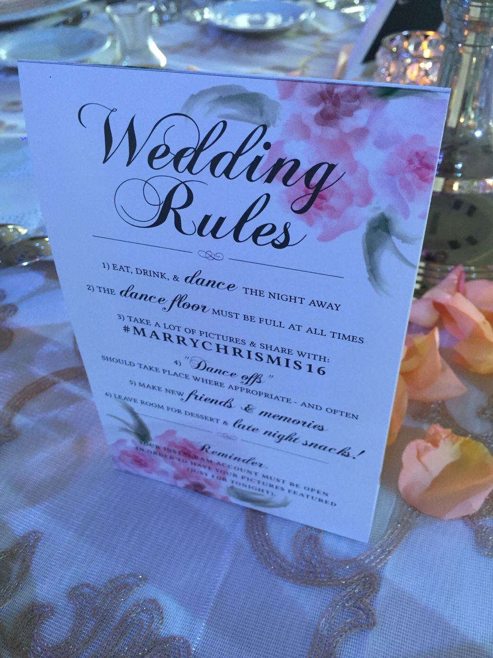 have wedding rules for your guests on the back of your