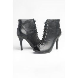 Black leather open toe laced up high heel booties