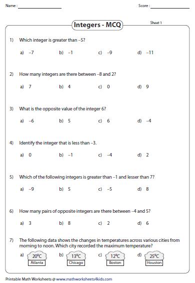 Integers Mcq Integers Worksheet Integers Integers Practice