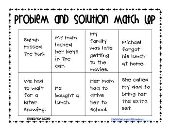 FREE! Problem and Solution Activity Pack   Reading and Writing K ...