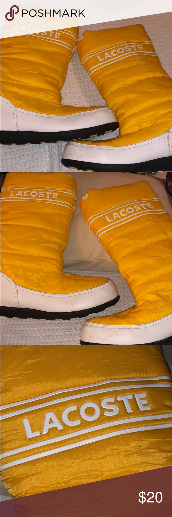 Women's Lacoste Snow Boots Bright yellow boots, (worn