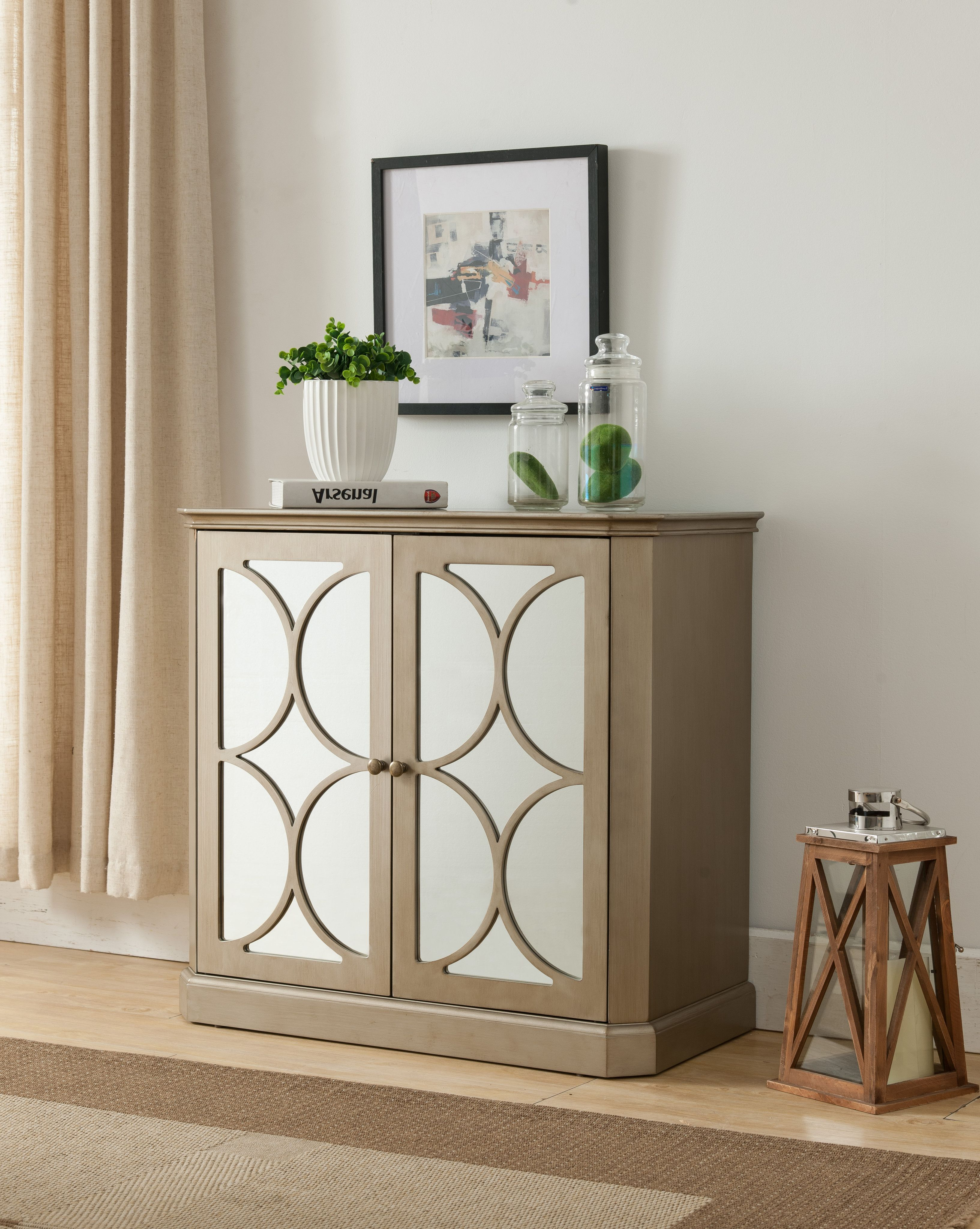 Gold Wood Contemporary Accent Entryway Sofa Display Table With Mirrored Storage Cabinet Doors