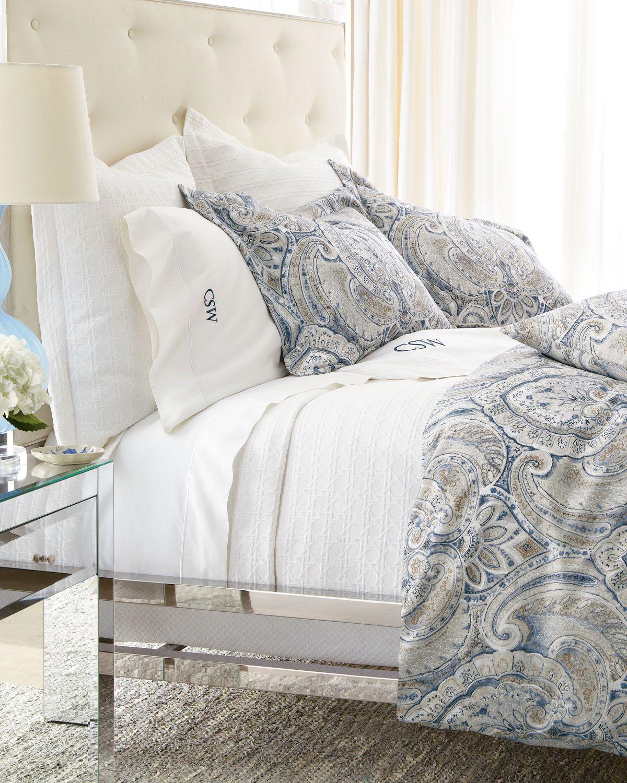 King Charleston Duvet Cover Blue Paisley Neiman Marcus Bedding