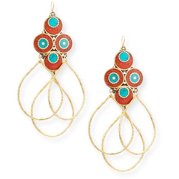 Devon Leigh Antiqued Turquoise & Onyx Beaded Earrings g545cu79