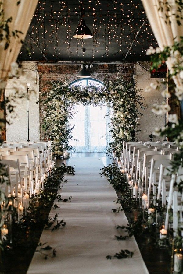 30 Indoor Wedding Ceremony Arches And Aisle Ideas Rustic Romantic Industrial Greenery Wedding Ceremo Night Wedding Photos Warehouse Wedding Industrial Wedding