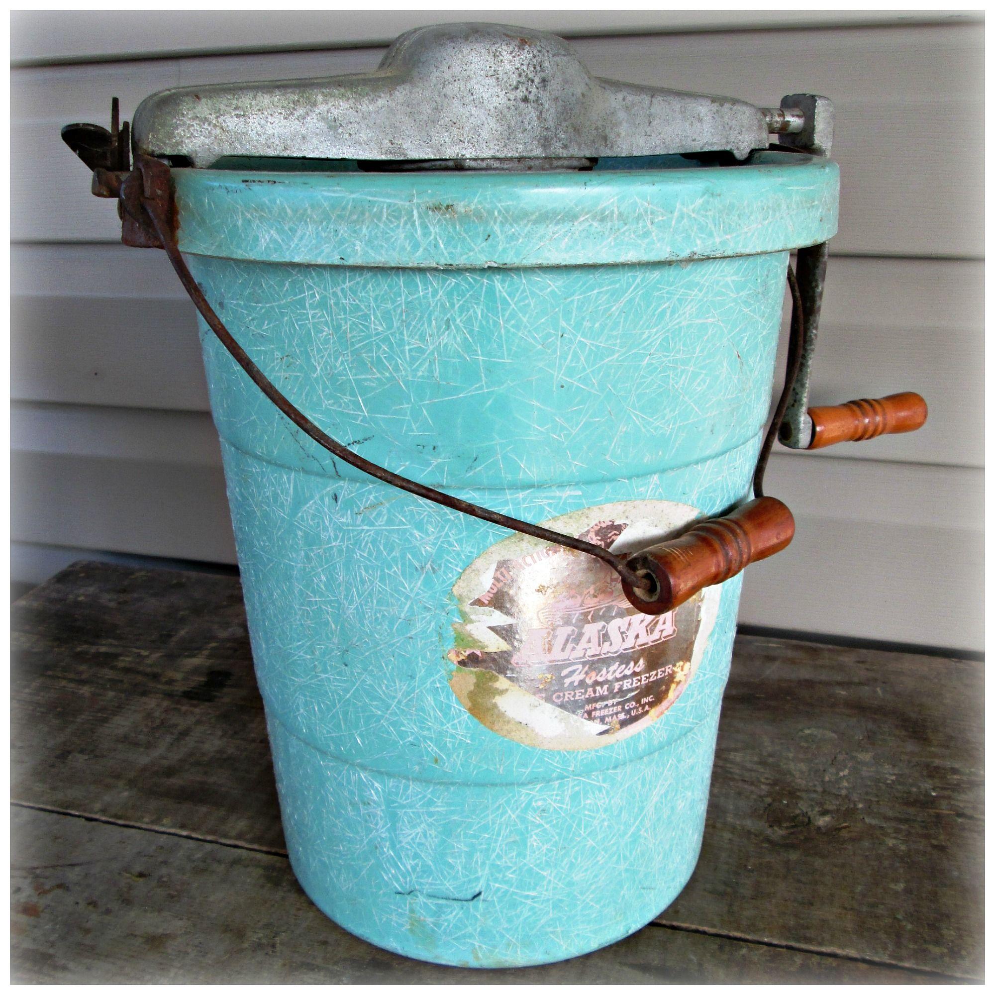 Vintage Alaska Hostess Hand Crank Ice Cream Maker Freezer Green