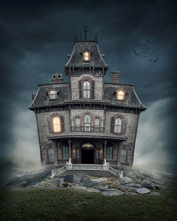 Halloween Backdrop dark house old house by BestBackdropCenter Back - halloween backdrop