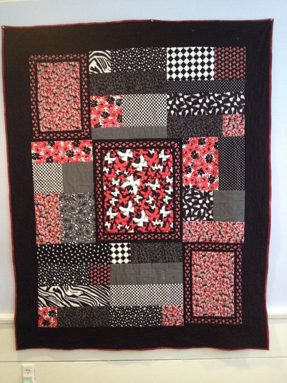 Black red and white quilt