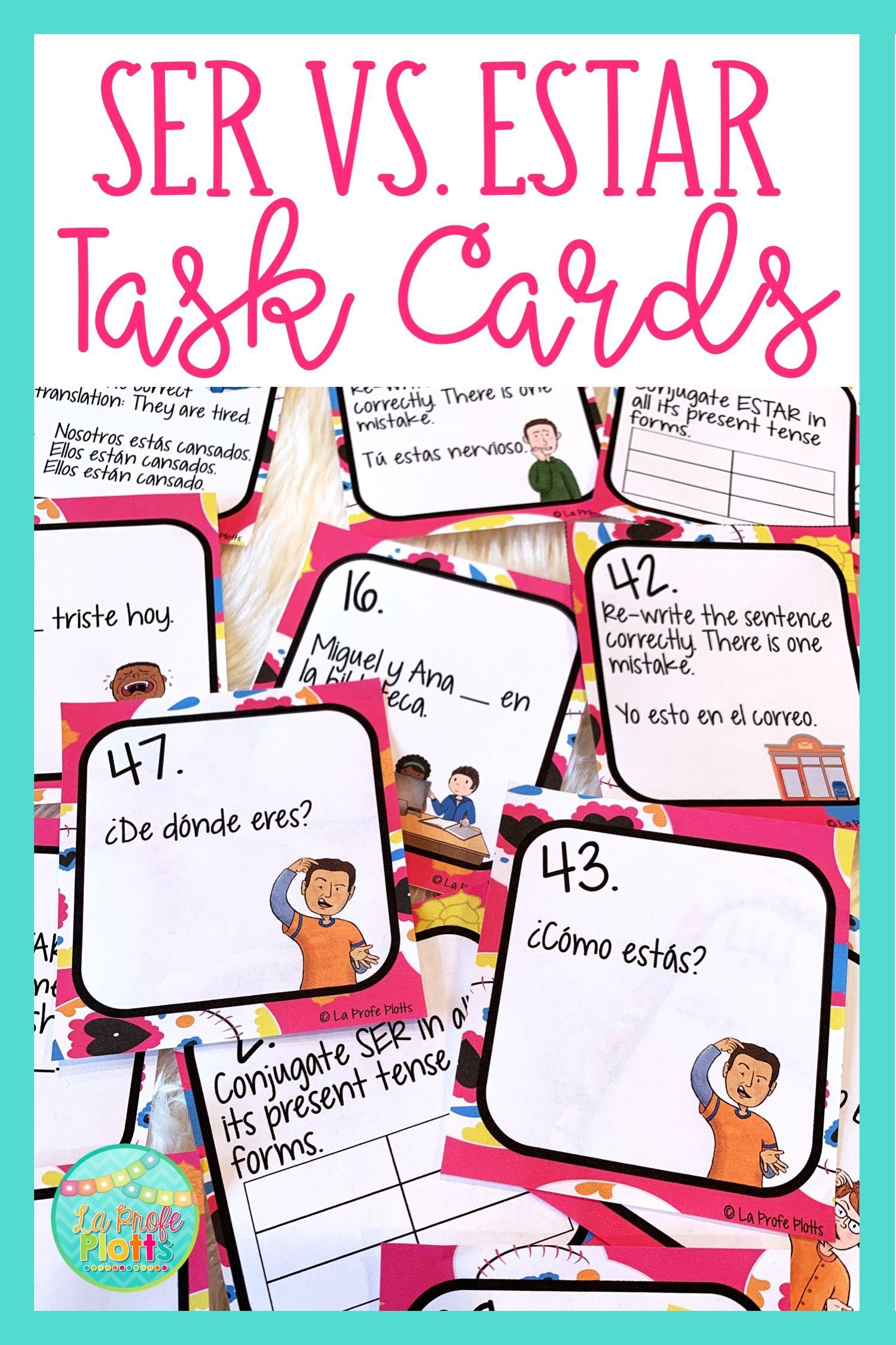 Ser Vs Estar Task Cards Spanish Ser And Estar Review Activity Task Cards Spanish Ser Spanish Classroom Activities [ 2249 x 1499 Pixel ]