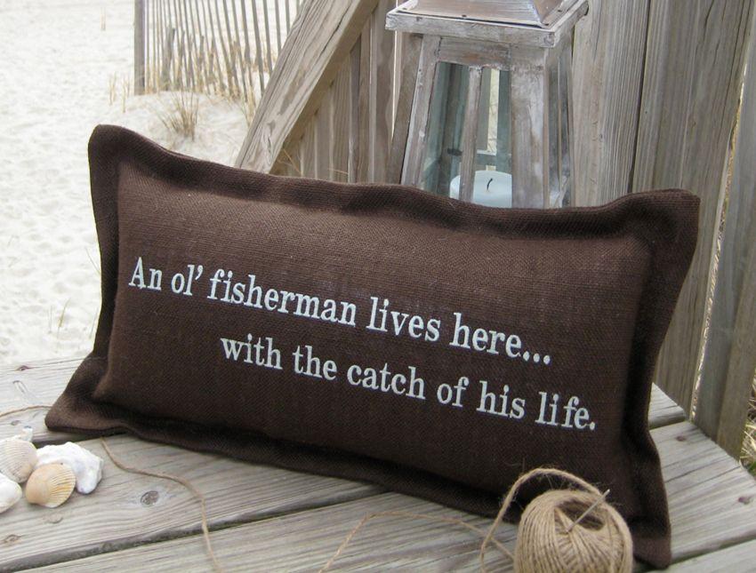 An Ol Fisherman Coastal Phrase Pillow Beach Decor Pillows
