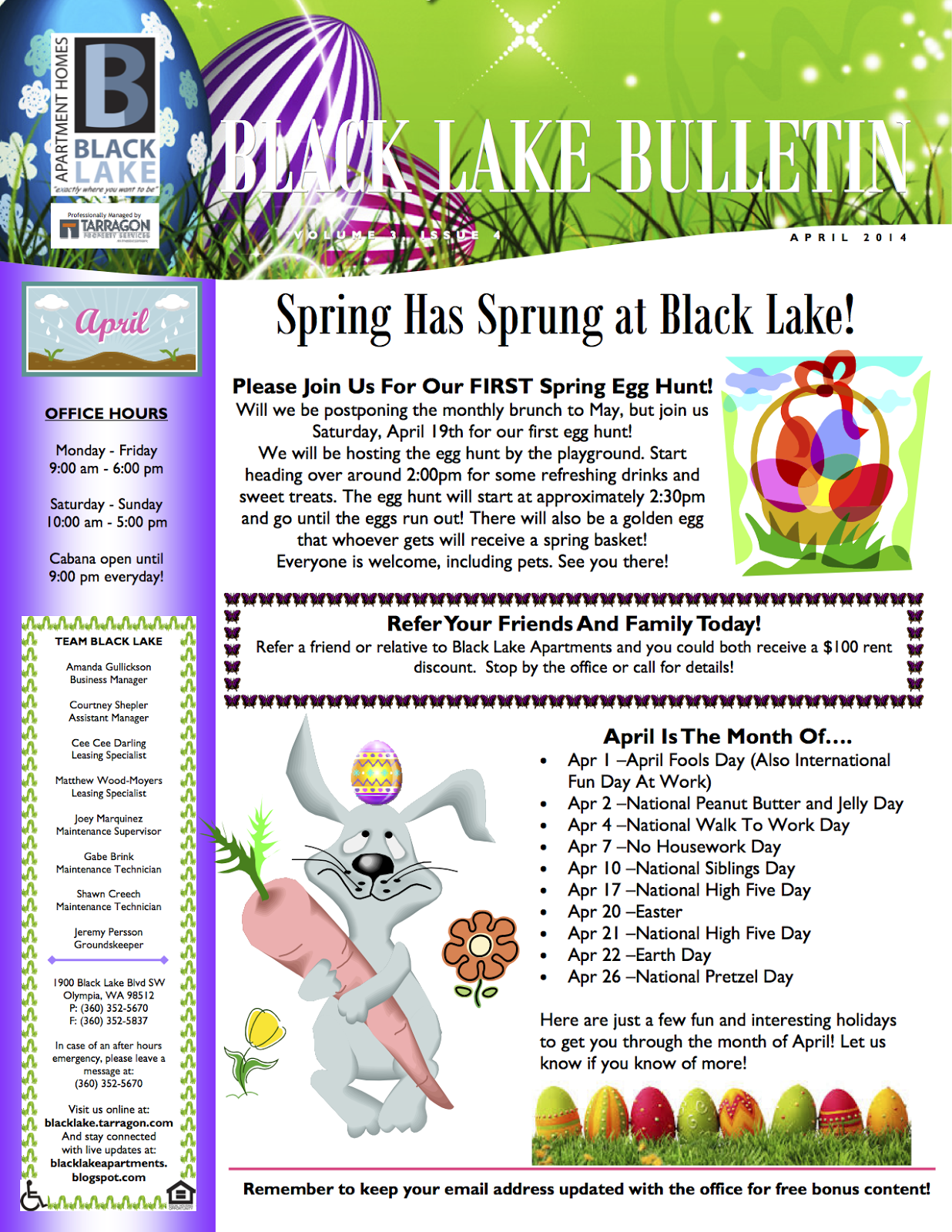 Newsletter ideas. April is the month of... | Property Management ...