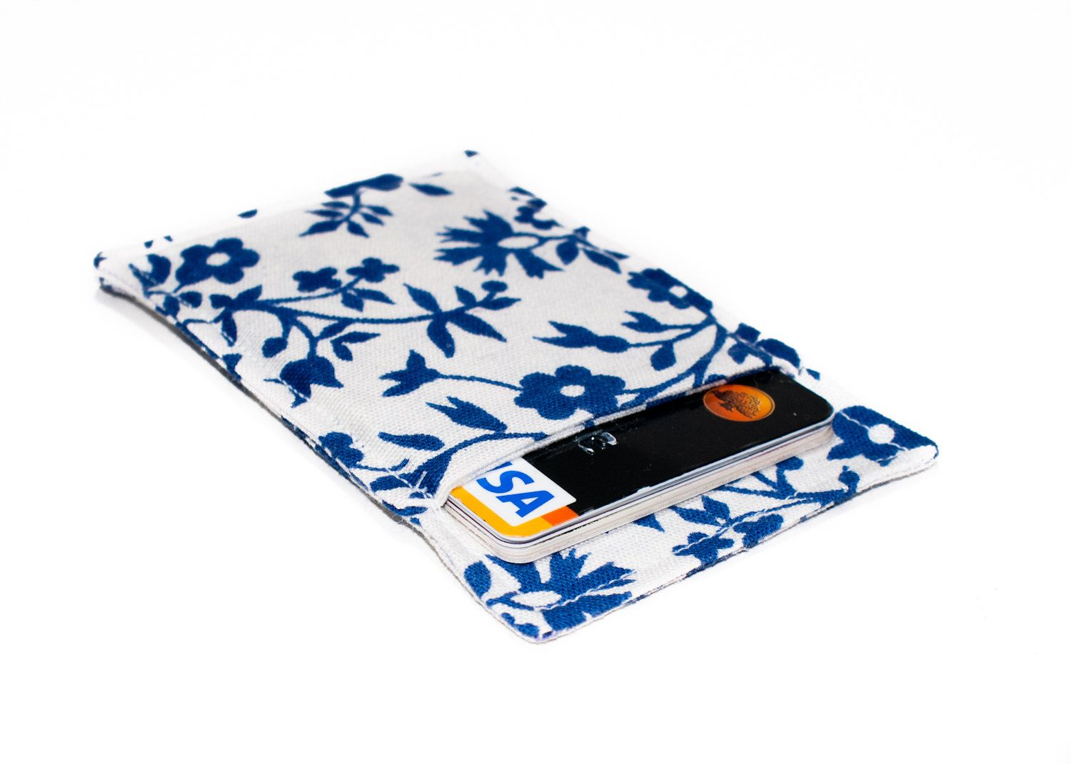 Credit Card Wallet  Minimalist Wallet  Slim Business Card Holder  Floral  Wallet  Business Card Holder  White And Blue Floral