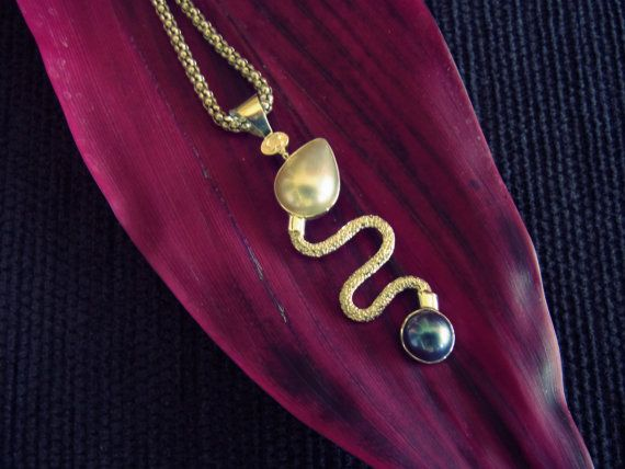 Year of the Snake Silver Pendant with Mabe Pearls by balijewels, $55.00