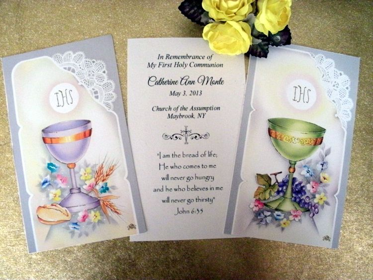 Personalized first holy communion favor cards assorted