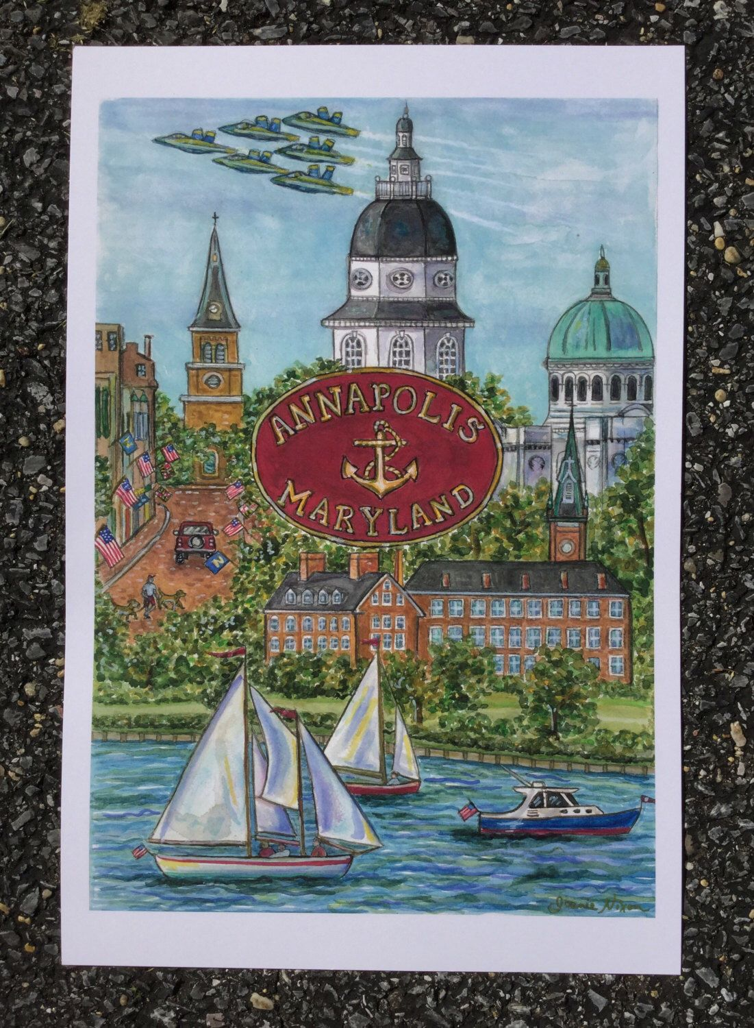A personal favorite from my Etsy shop https://www.etsy.com/listing/475669029/annapolis-maryland-print-of-original