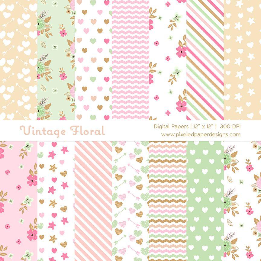 Pastel Vintage Floral Digital Paper Pack Available Here
