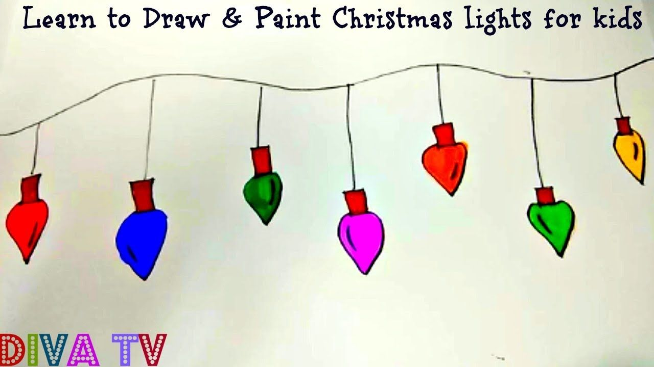 How To Draw Christmas Lights For Kids Super Easy Xmas Lights Bulbs Xmas Lights Christmas Lights Drawing For Kids
