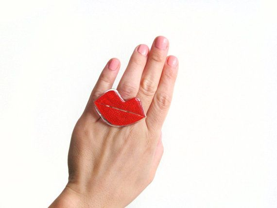 Red Lips Ring Hot Kiss Ring Kiss Me Adjustable Ring Statement