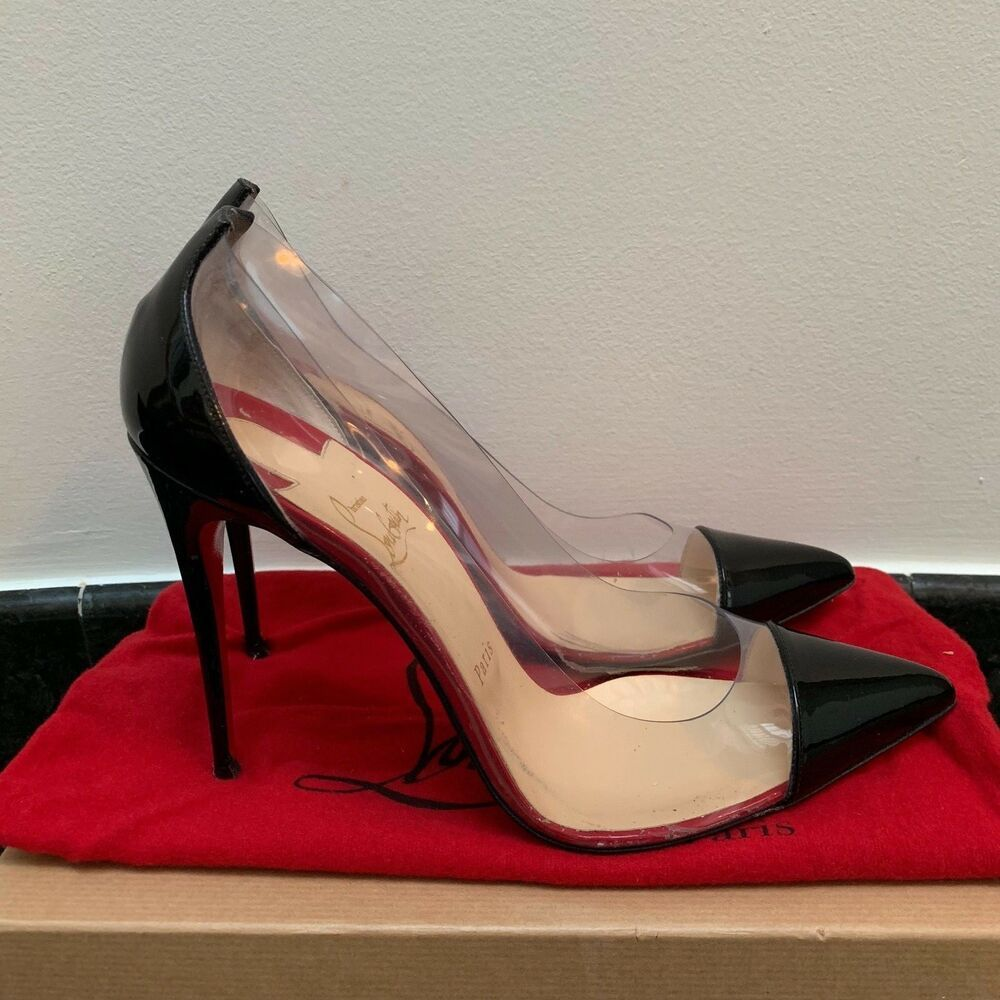 Ending Soon Christian Louboutin Debout Black Patent Pvc 100mm Pumps Sz 39 5 Shoes Designer Christian Louboutin Christian Louboutin Sandals Designer Heels