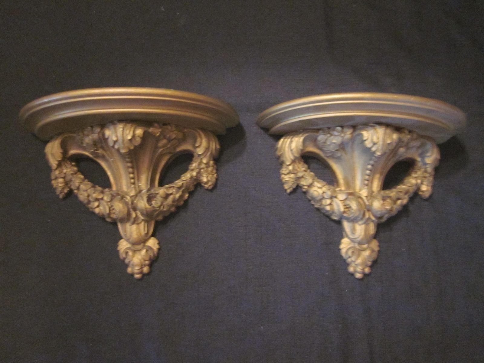 Vintage Decorative Ornate Syroco Wood Pair Gold Wall Hanging Sconce
