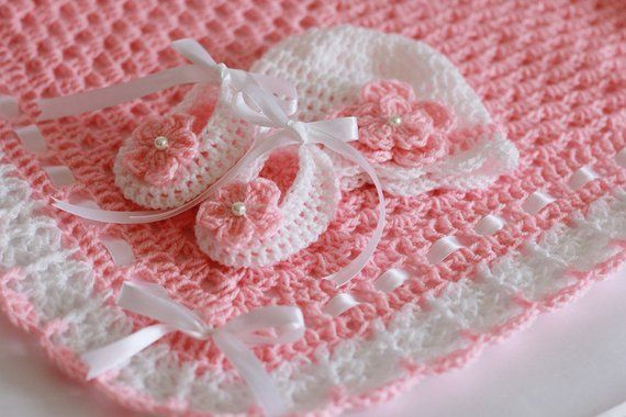 Crochet Baby Blanket, Hat and Booties Pink and White Satin Ribbon, Christening Baby Girl Baby Shower