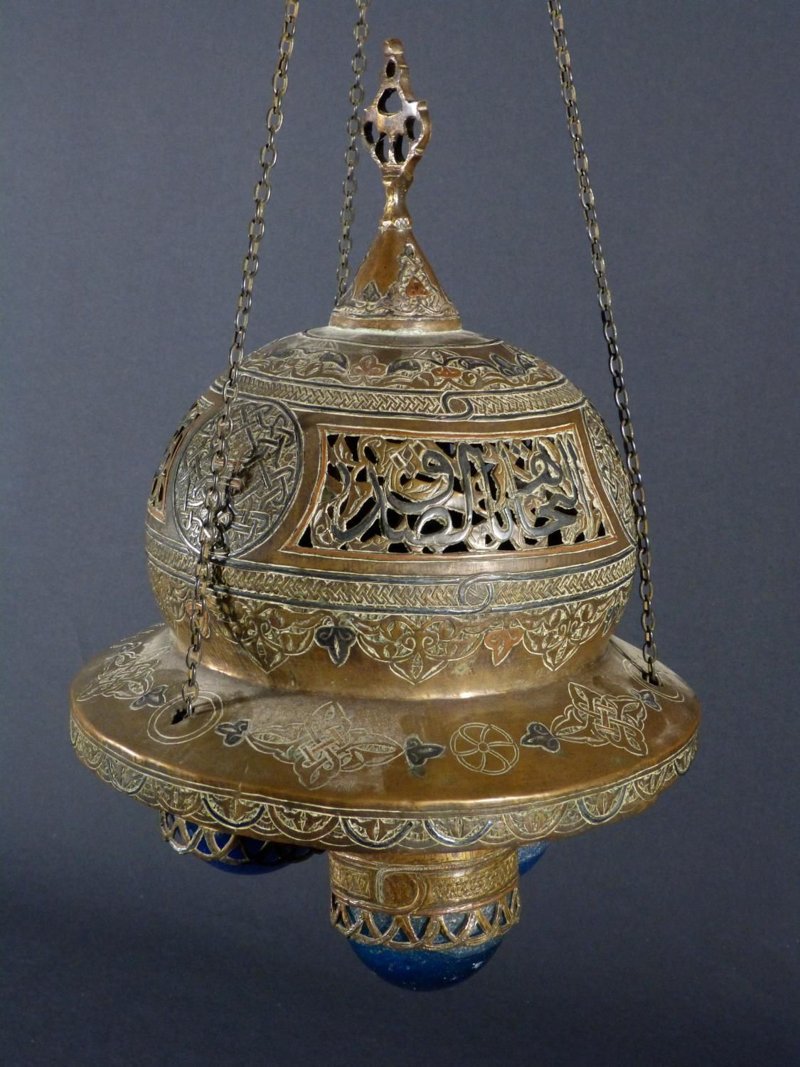 Antique for sale mosque lamp in brass and glass oil lamp