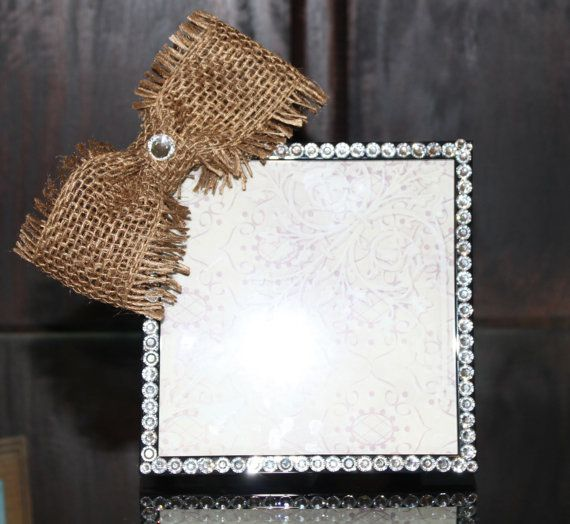 5x5 Swarovski Crystal Picture Frame with Burlap Bow on Etsy, $40.00 ...