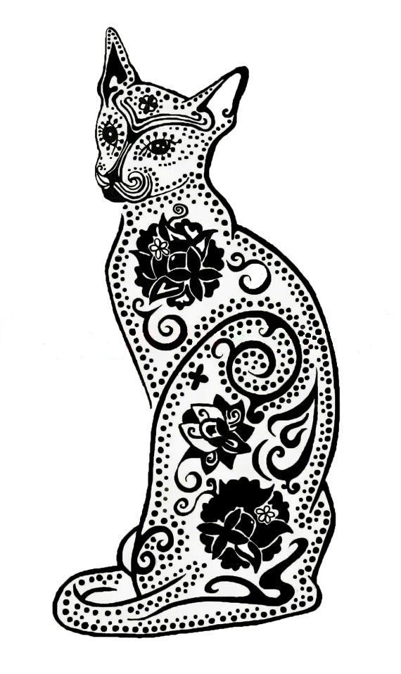 Coloriage Chat Stylise.Doodle Cat Coloring Cats Coloriages Chats Coloriage