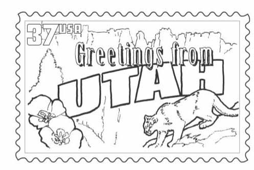 Utah Stamp Coloring Page Coloring Pages Coloring Pages For Kids