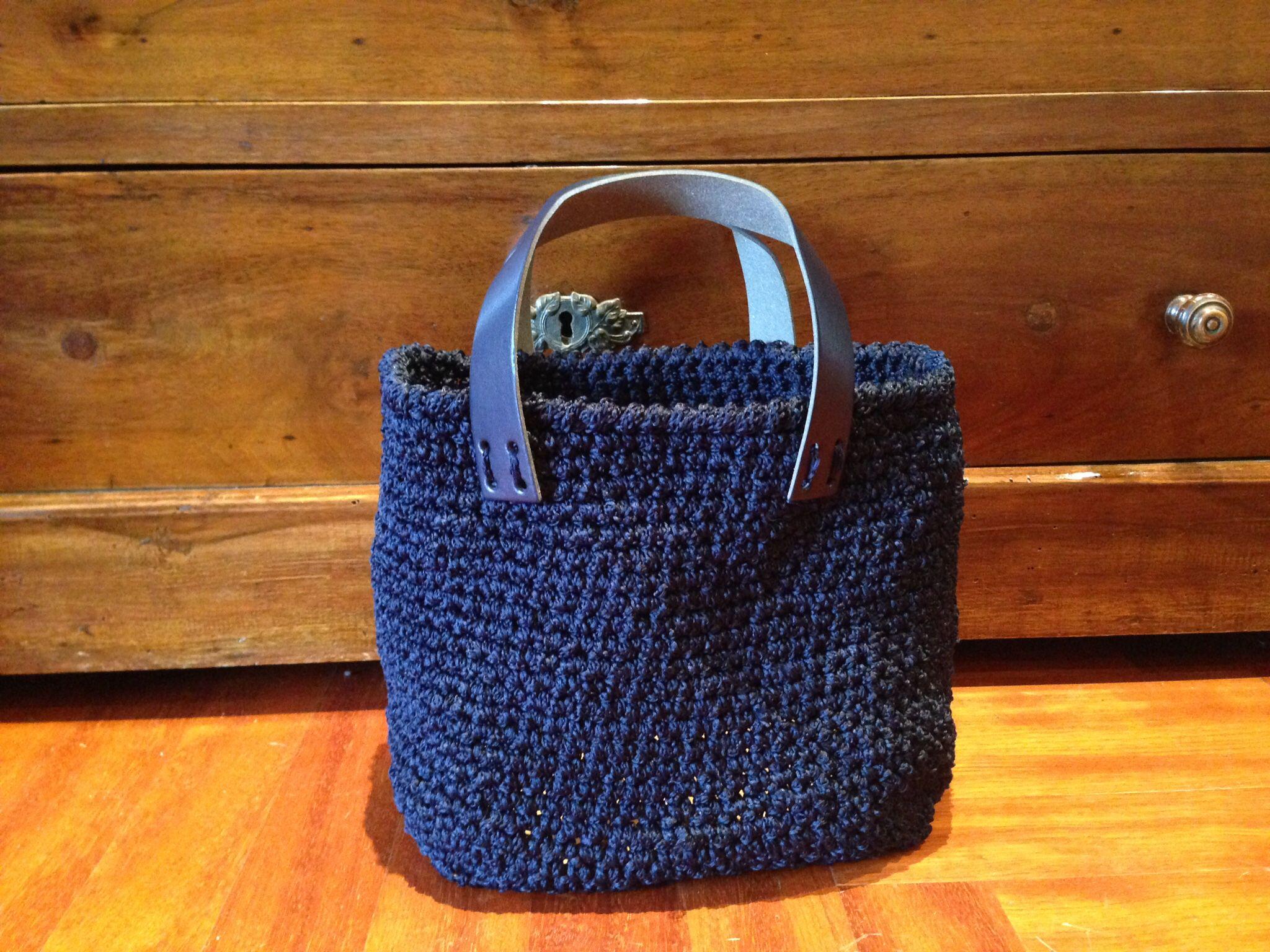 Mini bag blu in cordino