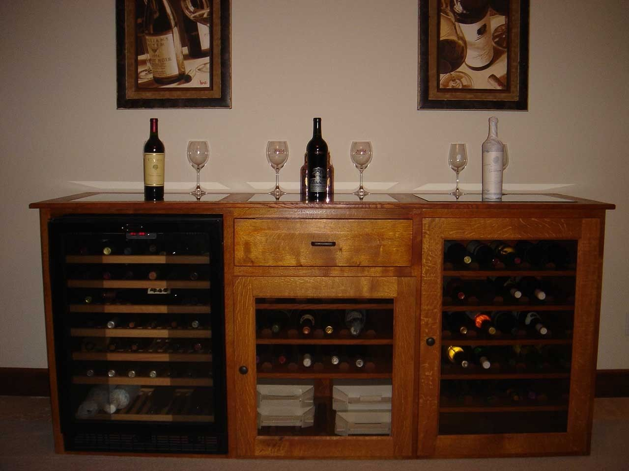 Built in wine racks for kitchen cabinets - This Quarter Sawn White Oak Wine Cabinet Is Built In The Clic