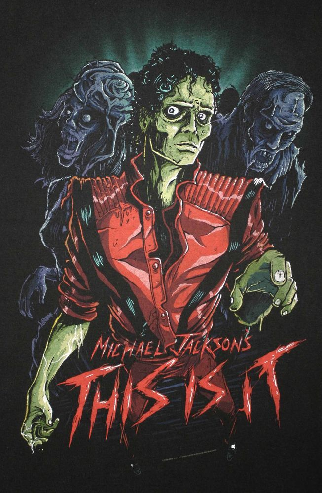 """2009 MICHAEL JACKSON """"THIS IS IT"""" THRILLER ZOMBIE T-SHIRT Adult Size Large Black"""