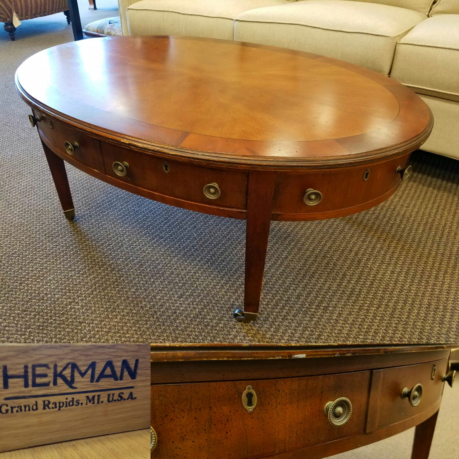 This Heckman oval cocktail table is $129.