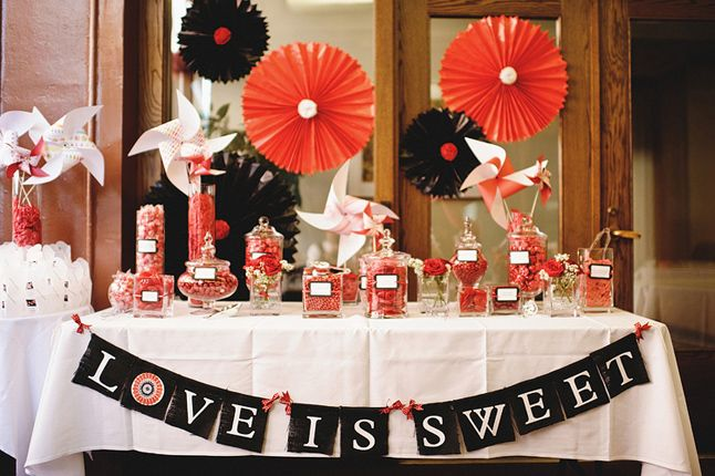 Red Black White Sweet Table Red Bridal Showers Black Wedding