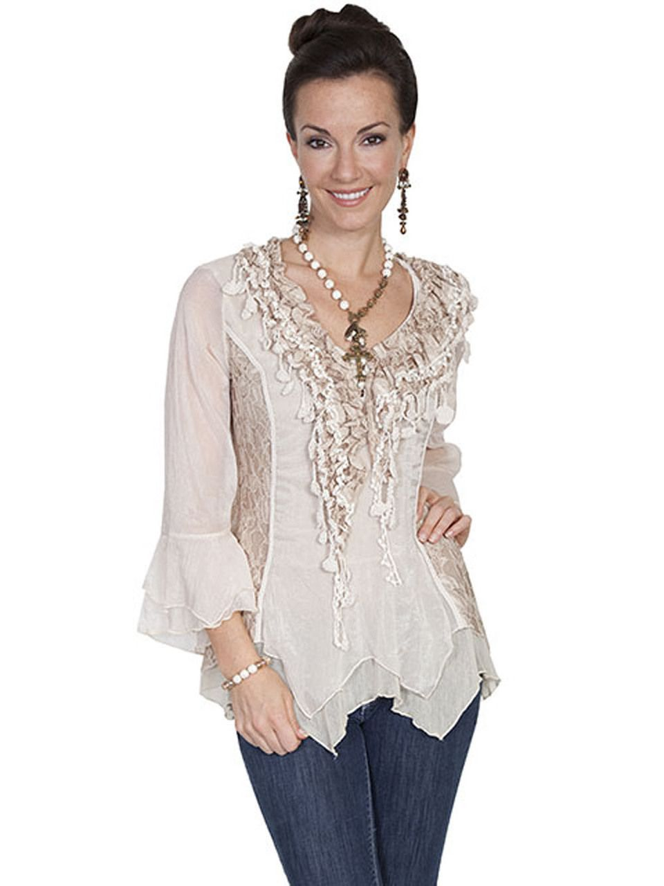 c13d01b31 Scully Honey Creek Crochet Lace and Ruffle Blouse HC179-NAT - KillerHats